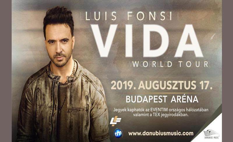 Luis Fonsi koncert – Vida Tour 2019 AUGUSZTUS 17. 20:00 – Papp László Budapest Sportaréna – JEGYVÁSÁRLÁS