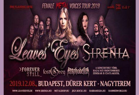 Leaves' Eyes, Sirenia: 12 női-frontos zenekar lép fel egy estén a Dürer kertben vasárnap